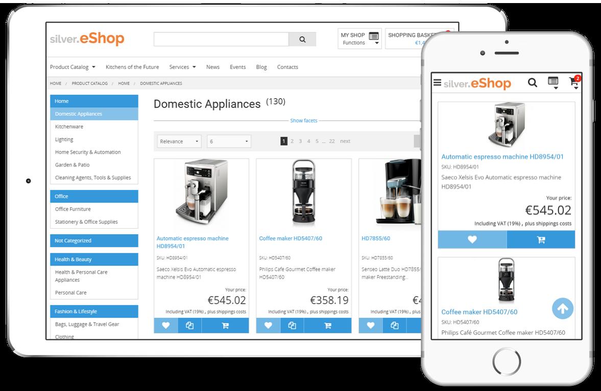 silver.eShop im Tablet und Smartphone