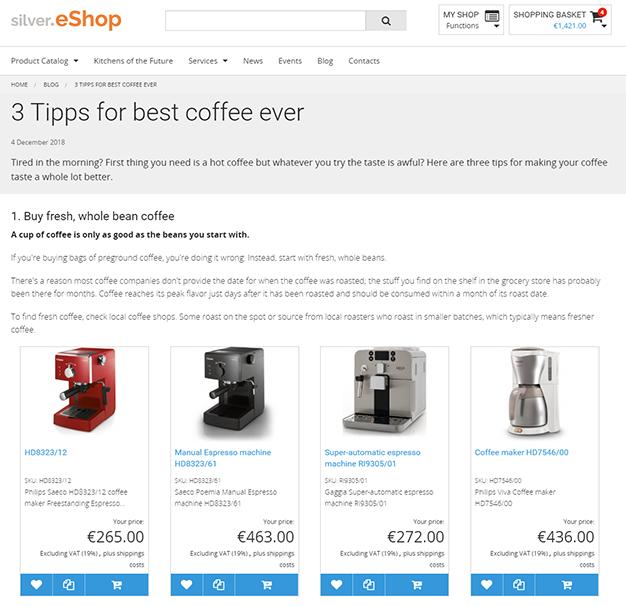 Content und Commerce in silver.eShop