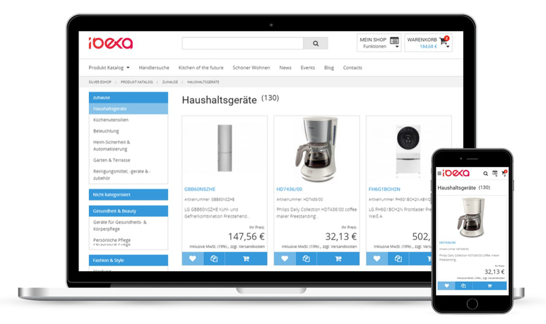 Ibexa Commerce Produktseite in zwei Geräten