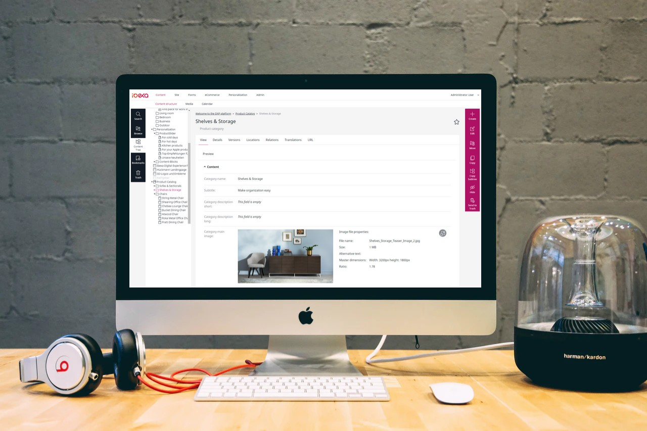 Ibexa Content Backend screen im Mac