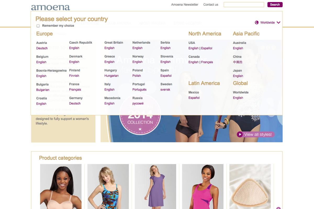 Amoena Corporate Site Länderauswahl