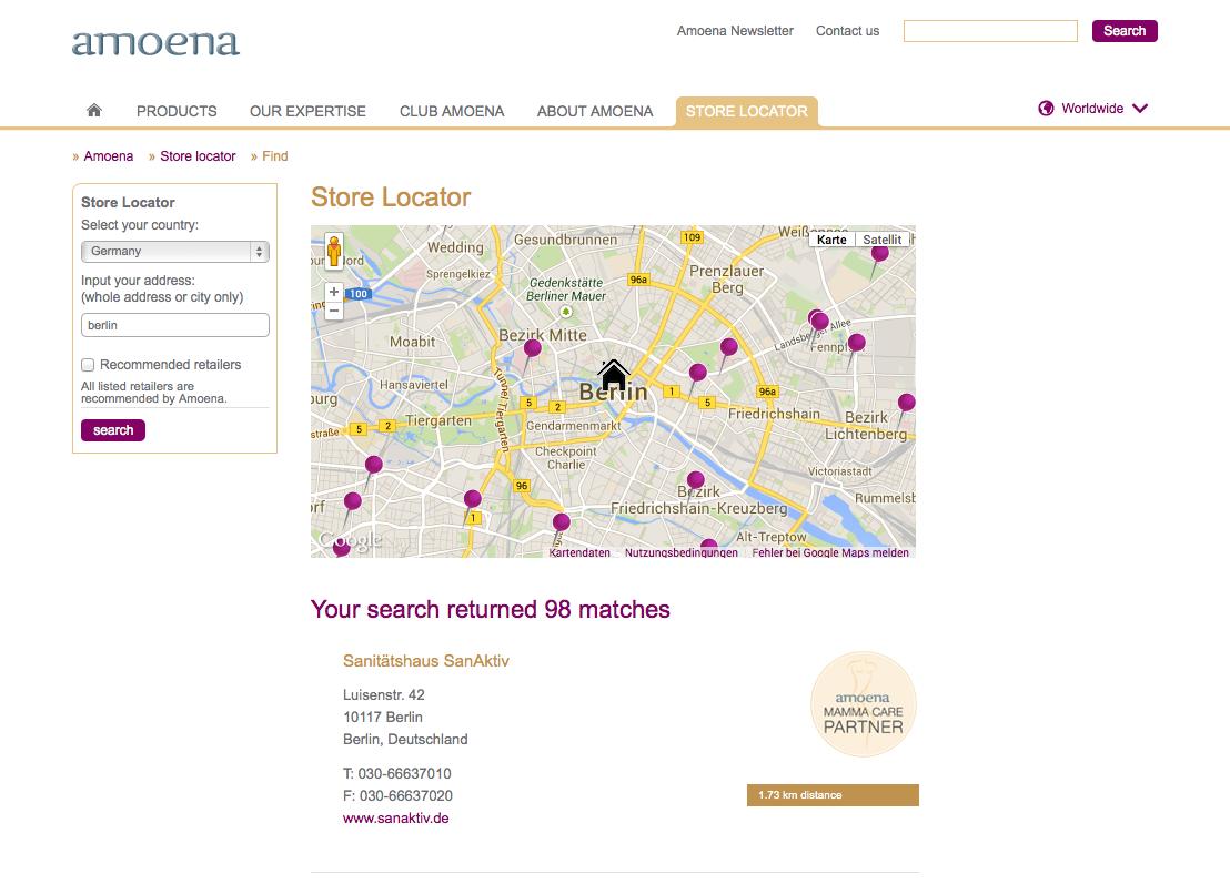 Amoena Corporate Site Store Locator