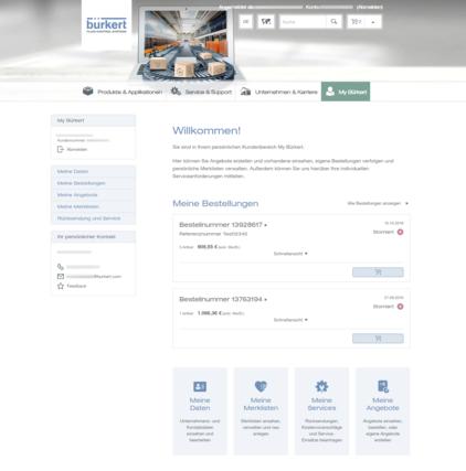 My Bürkert Kundenportal Dashboard