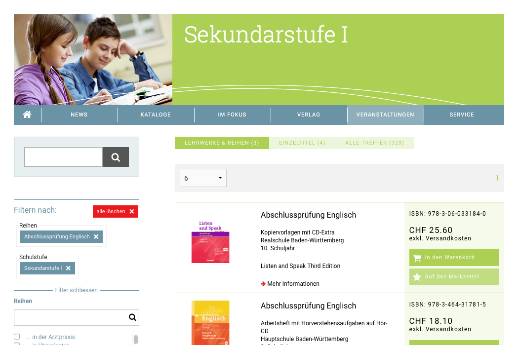Cornelsen Schweiz - Product search