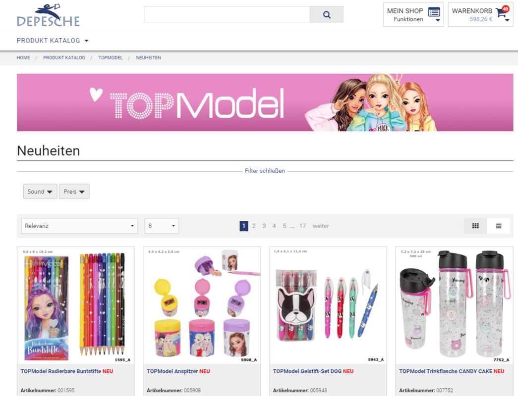 Depesche B2B Onlineshop TopModel Übersichtsseite