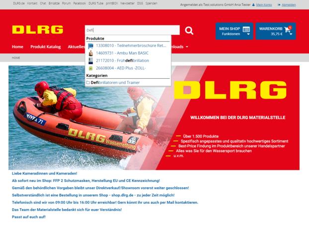 DLRG Startseite Suchfunktion 2021