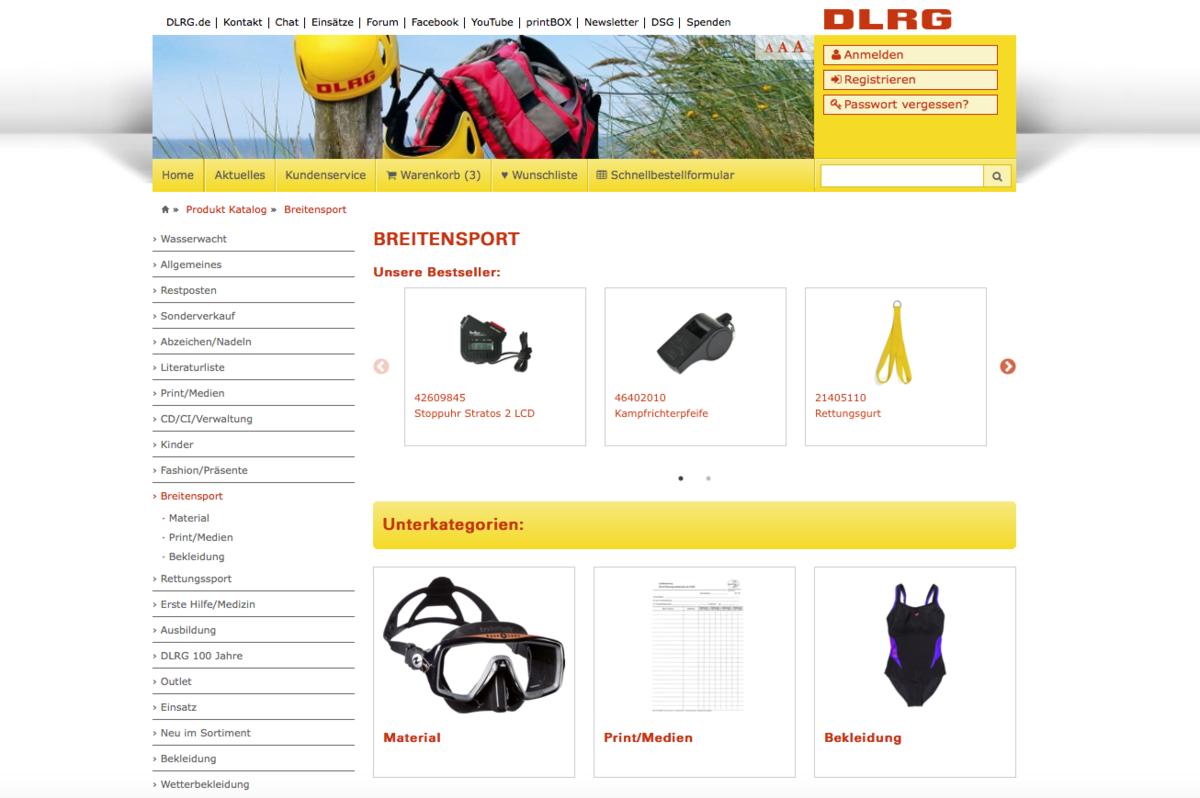 DLRG Shop – Anzeige von Bestsellern in Kategorien