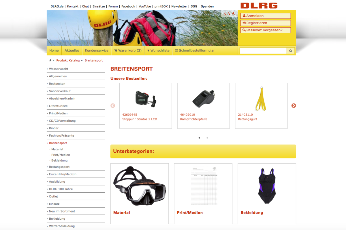DLRG shop – bestselling products for categories