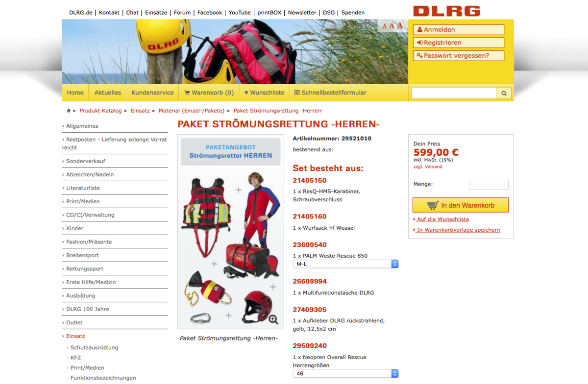 DLRG online shop – product detail for set articles