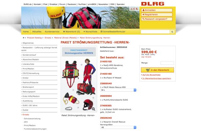 DLRG Onlineshop – Produktdetail für Setartikel