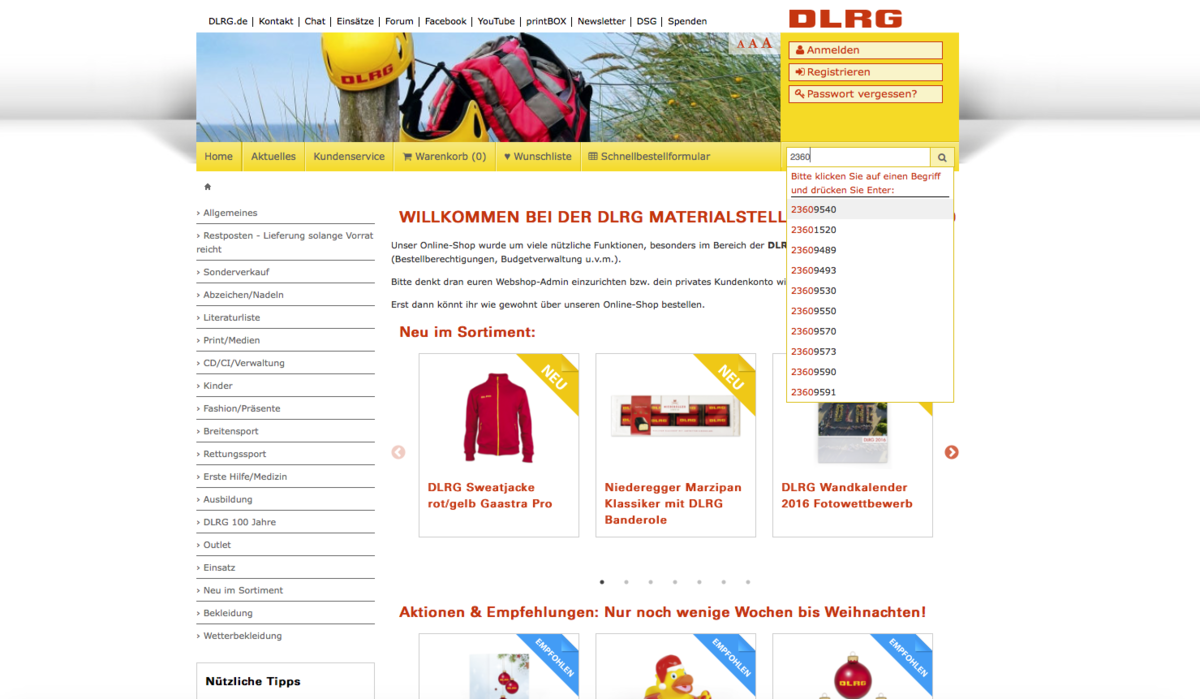 DLRG online shop – search function with auto-complete and auto-suggest