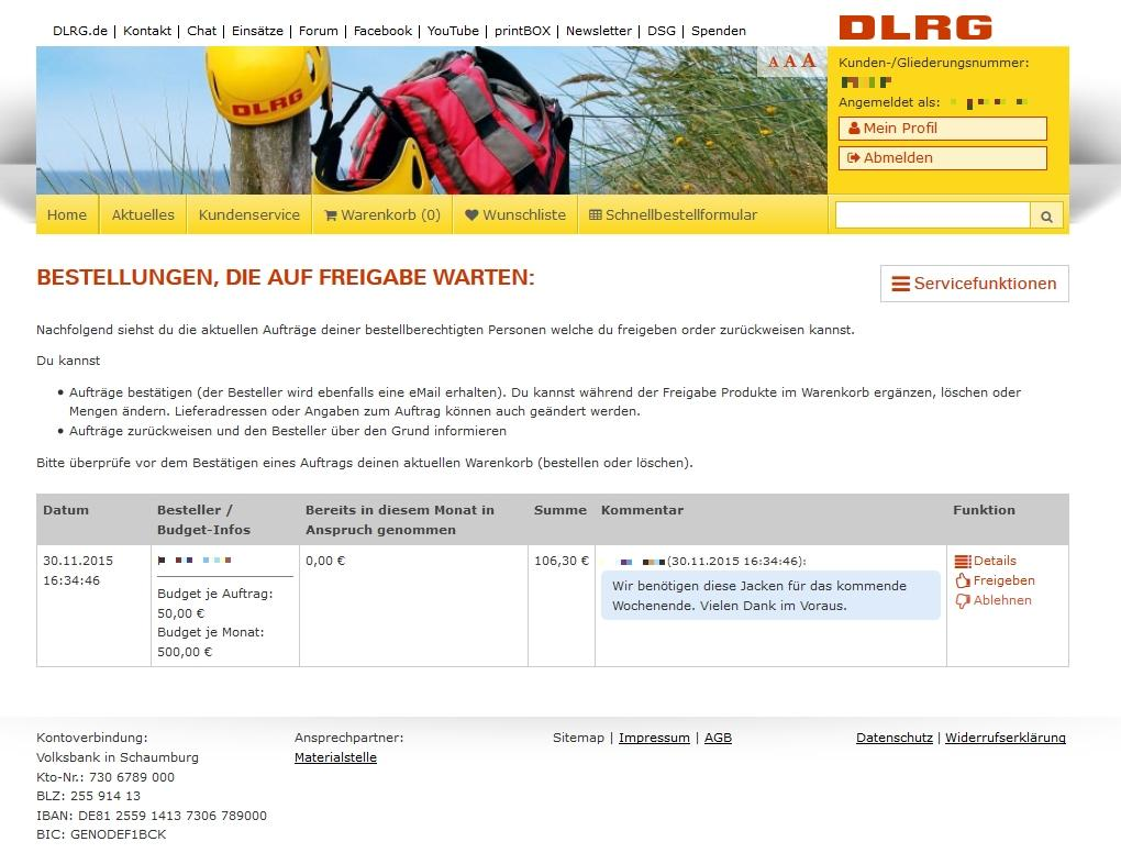 DLRG online shop – approval process (manager)