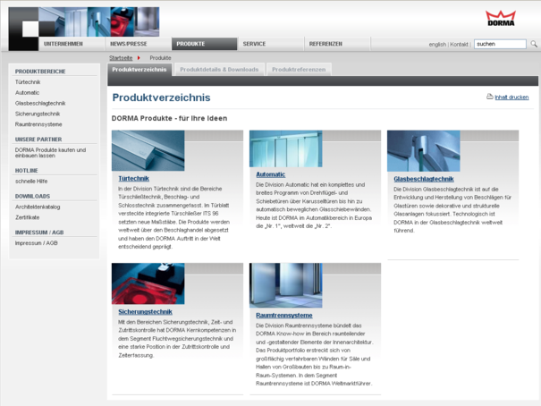 DORMA Produktdatenbank - Divisionen