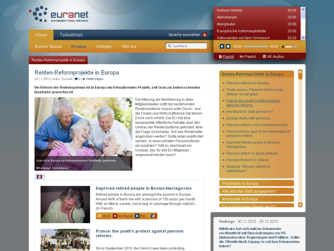 Euranet Aggregation Page Relaunch