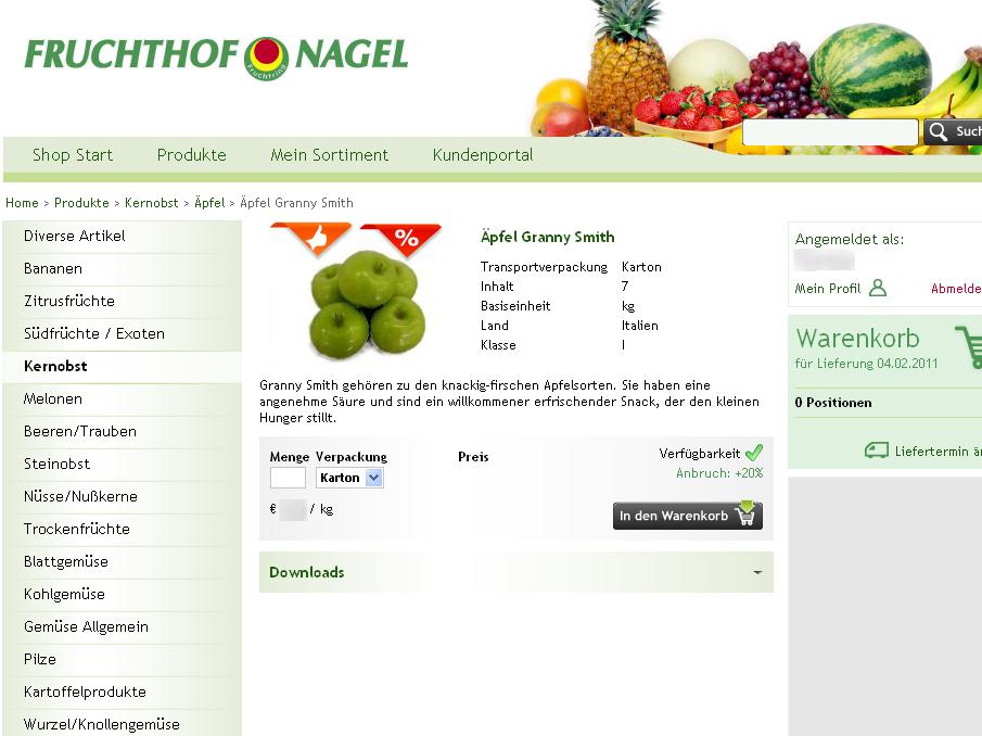Fruchthof Detailansicht Screenshot