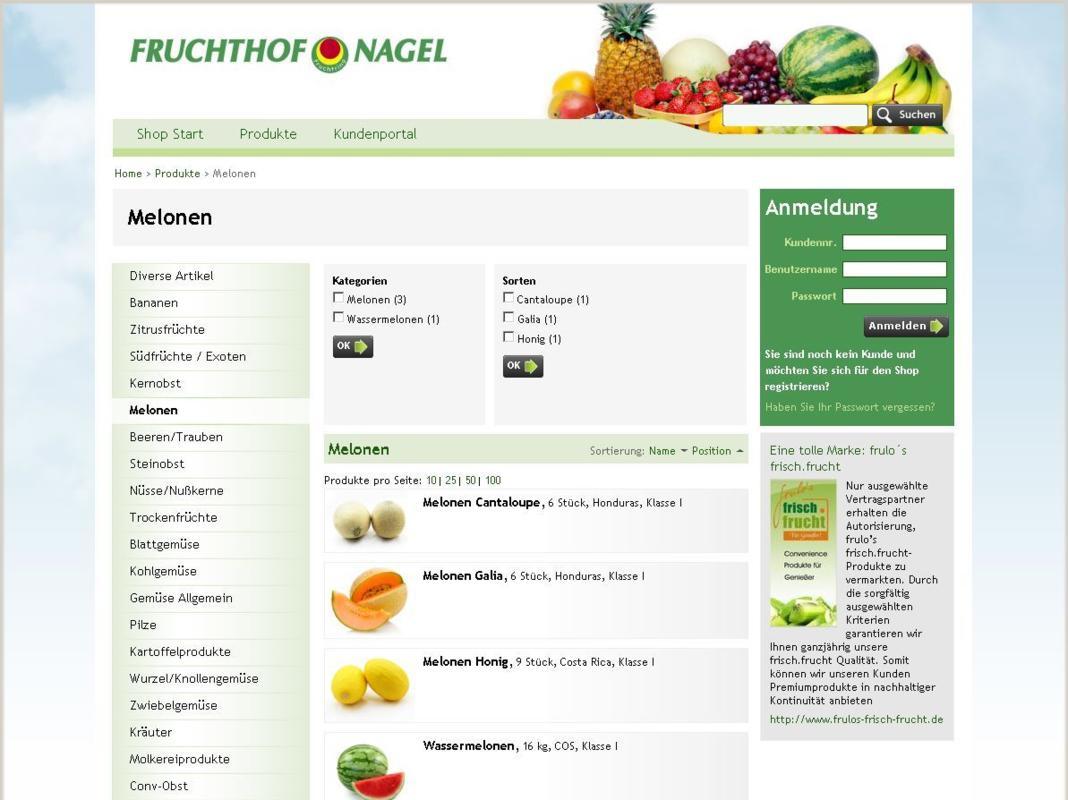 Fruchthof Produktgruppe Screenshot