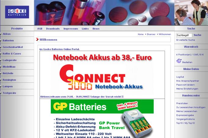 Online-Shop Homepage Goeke Intermedia