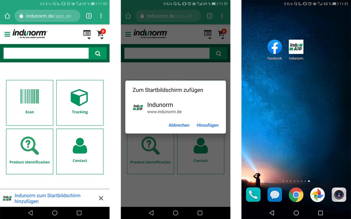 Indunorm Progressive Web App icon start screen