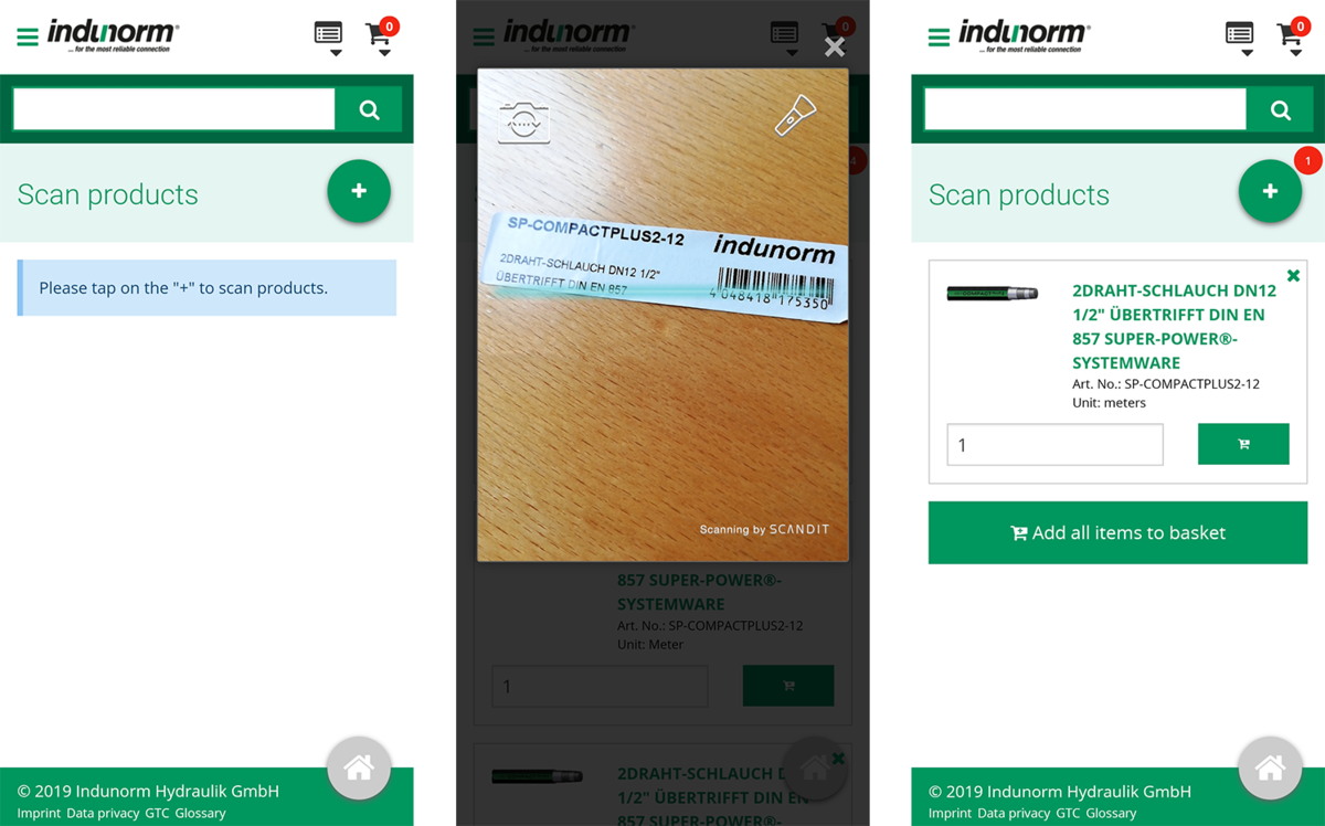 Indunorm Progressive Web App scan feature