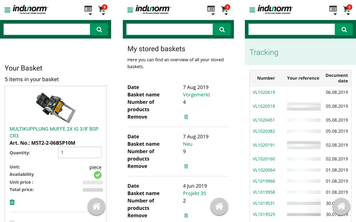 Indunorm Progressive Web App shopping cart, stored baskets and tracking
