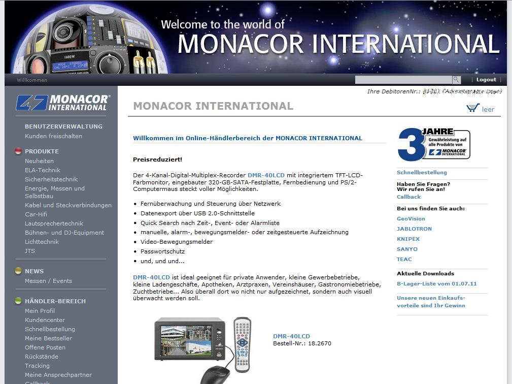 Monacor Homepage