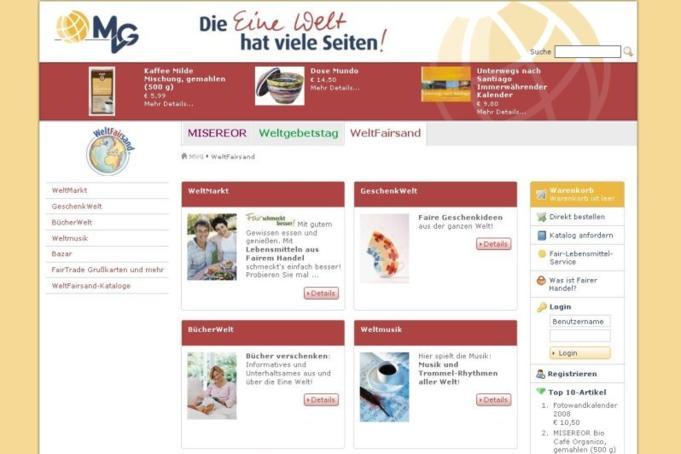 www.eine-welt-shop.de - Bereichsseite
