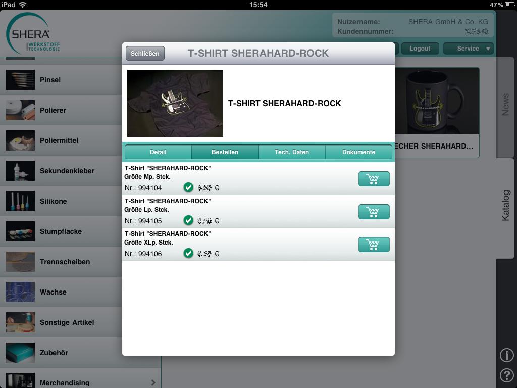Shera iPad App – Produktdetail