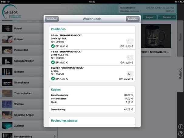 Shera iPad App – Shopping basket