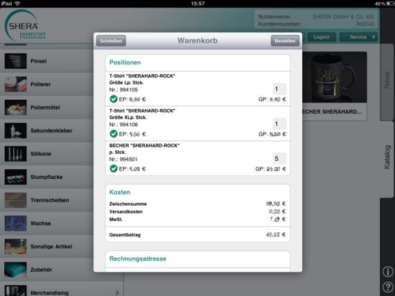 Shera iPad App – Warenkorb