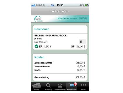 Shera iPhone App – Warenkorb