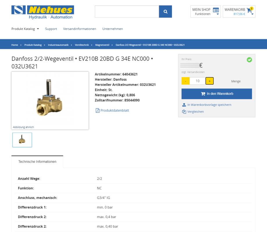 Th. Niehues B2B Shop Produktdetailseite