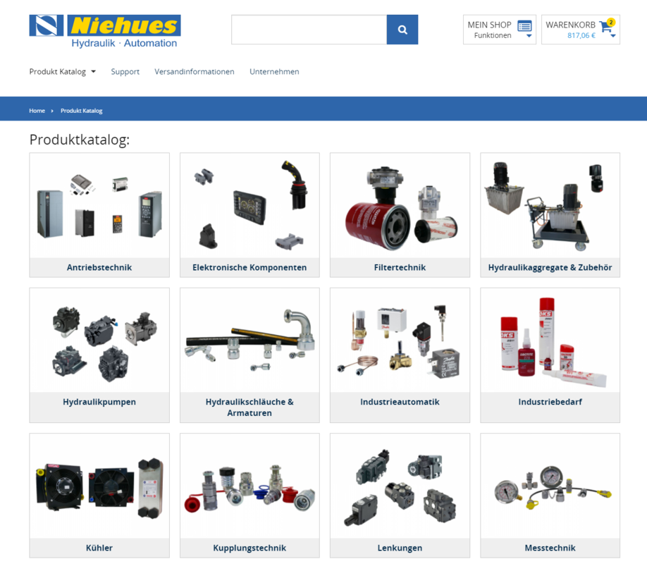 Th. Niehues B2B Shop Startseite