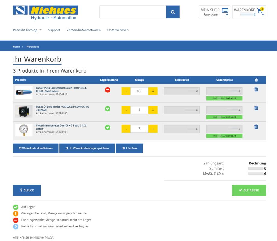 Th. Niehues B2B Shop Warenkorb