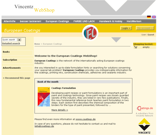 Vincentz: European Coatings Startseite