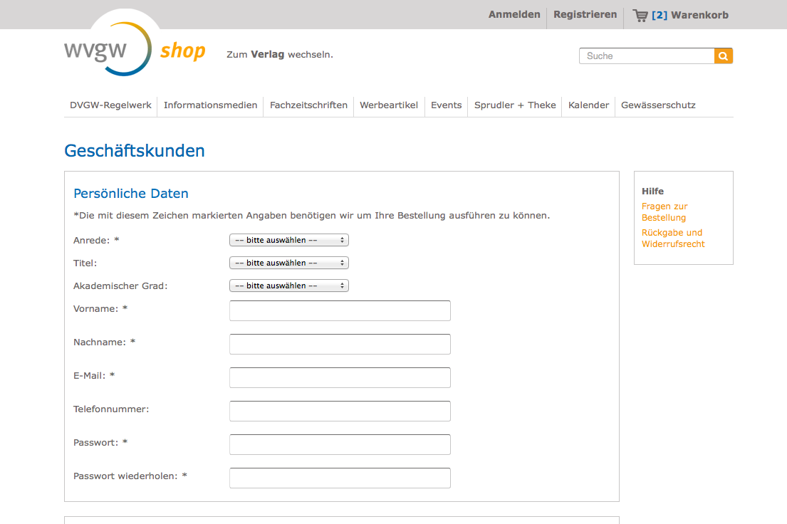 wvgw Shop Registrierung