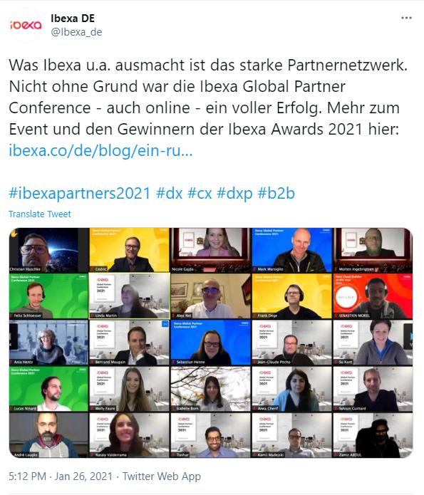 Ibexa Partnerkonferenz 2021 Twitter post